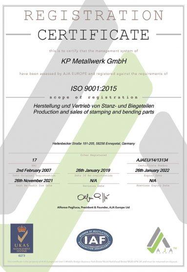 Wir sind zertifiziert nach DIN EN ISO 9001:2015